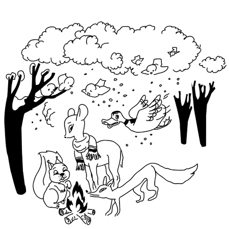 Animals in the woods around fire sketch