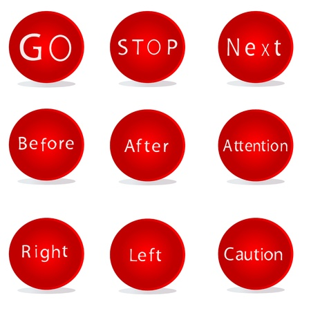 Nine different red buttons for different purposes