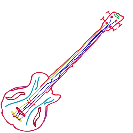 Childlike guitar drawing