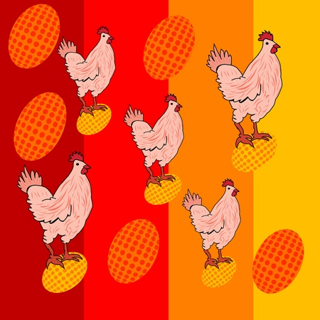Cute chicken illustration over colored background
