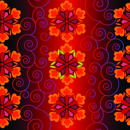 Beautifull flower with swirls and red-black gradient pattern