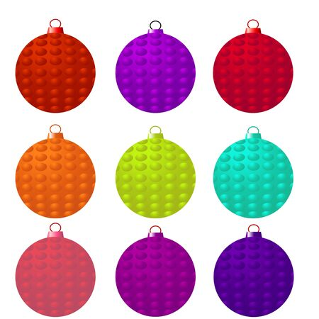 Nine isolated christmas globes in different color Illustration