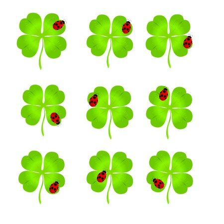 Nine simple luck clovers with ladybirds on them over white background for St. Patrick`s day Illustration