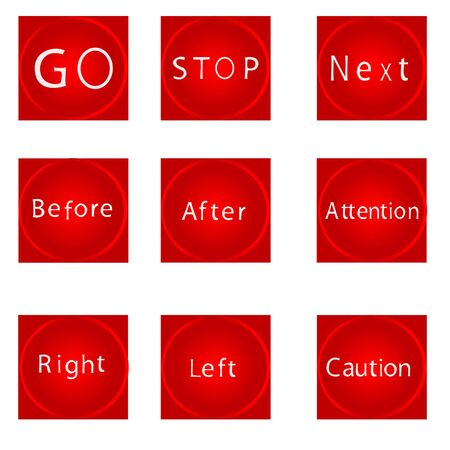 Nine different red buttons for different purposes Vector