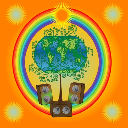 Abstract tree within a rainbow and