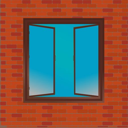 Open window over a brick wall.