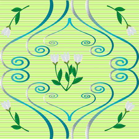 Snowdrops、緑の背景で巻き毛の装飾品