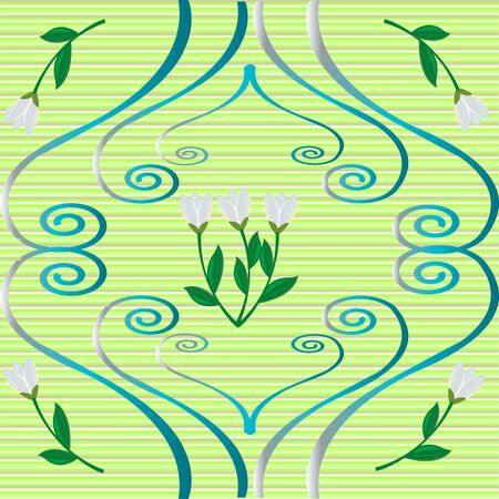 Snowdrops and curly ornaments over green background