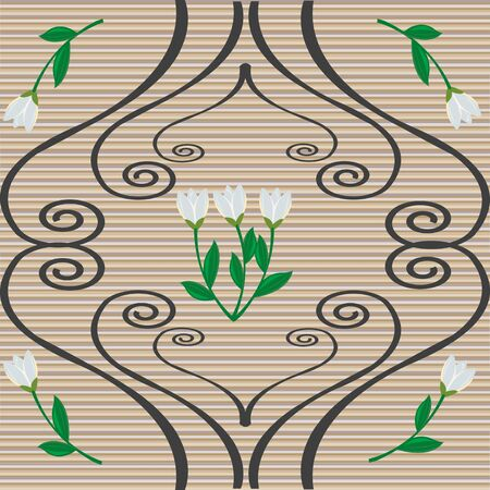 Snowdrops and curly ornaments over retro background pattern