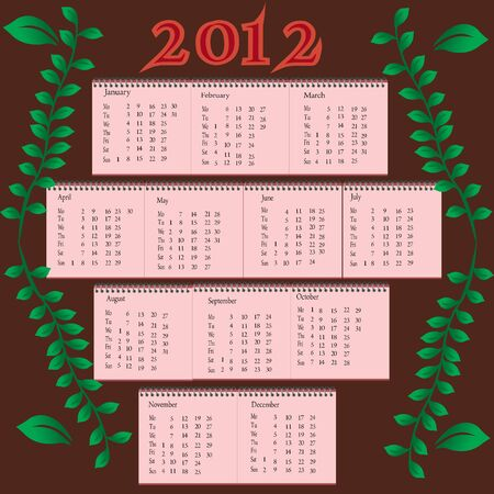 Calendar of 2012 with brown background and leaf elements Illustration