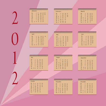 Calendar of 2012 with purple background  Illustration