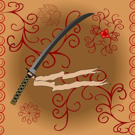 Katana sword with syilzed floral decor on brown background