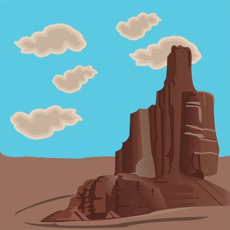 Isolated mountain in a desert landscape with blue sky.