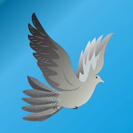 Designed grey pigeon over blue background.