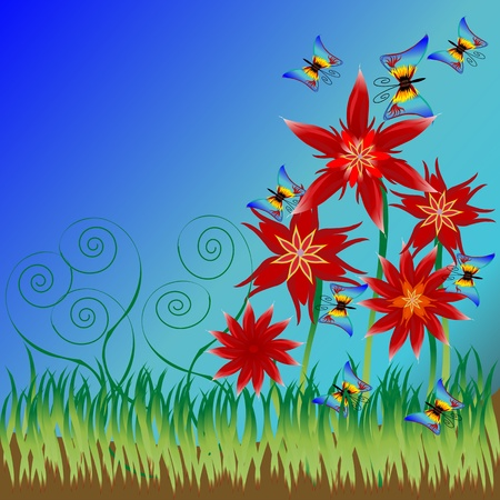 Background illustration with red flowers, grass and buterflies