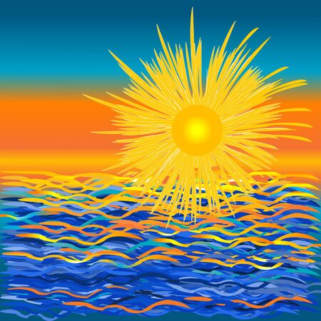 Stylized graphic sunset over the sea background Illustration