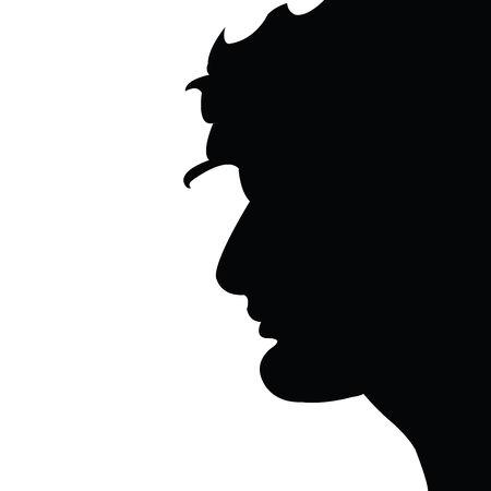 Beautifull Balkan man silhouete over white background