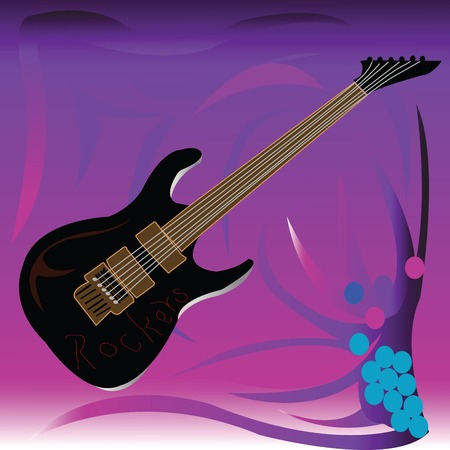 Black guitar with Rockers righting over gradient background Illustration