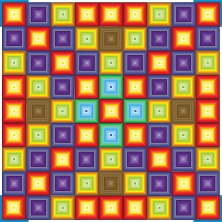 funn: Squares patterns with gradient color of orange; blue; yellow Illustration