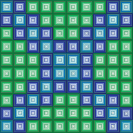 funn: Squares patterns with gradient color of green and blue