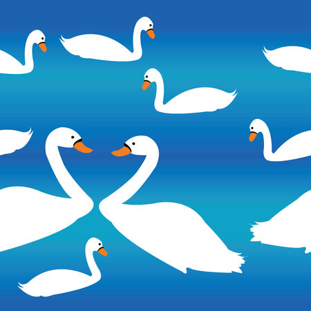 Simple swan decor over blue  pattern Illustration