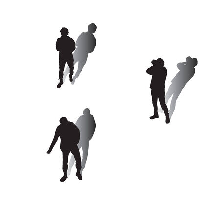 silhouttes: Man silhouttes with shadow over white background