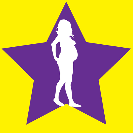 White silhouttes of a pregnant woman in a purple star over yellow background