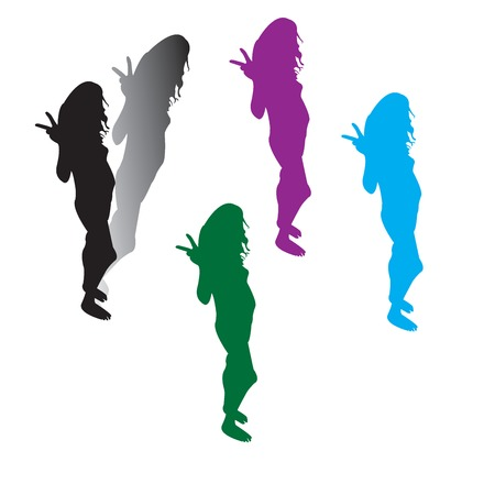 Five woman silhouttes with her hands showing peace