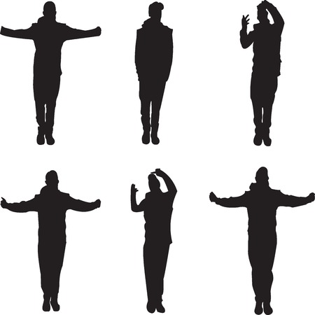 Six man silhouttes over white background