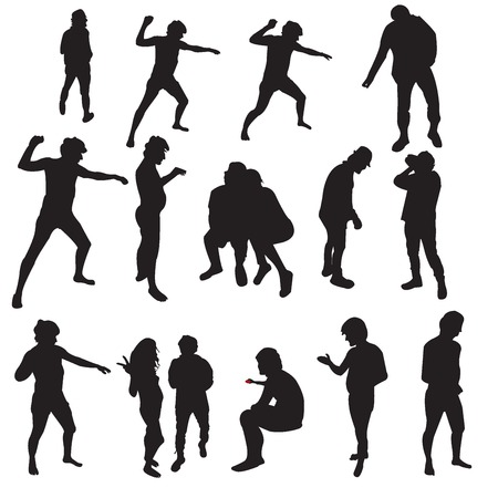 Silhouttes of a man and a woman over white background Vector