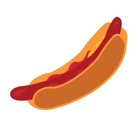 tuck: Hot dog with ketchup over white background Illustration