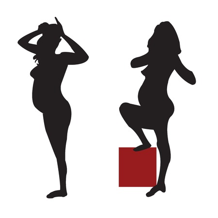 funn: Two Silhouttes of a pregnant woman over white background