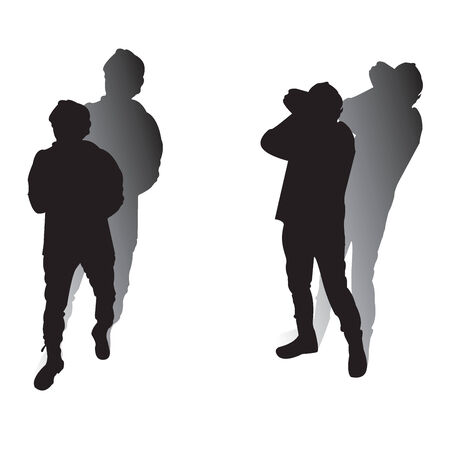 Man silhouttes with shadow over white background Vector