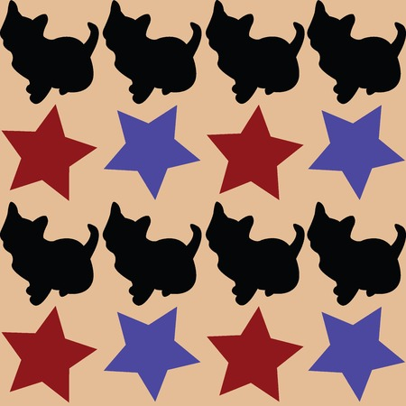 Cat pattern over crem background with stars