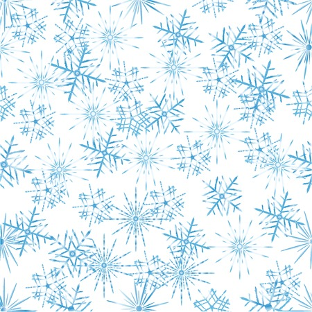 Three different tipes of snowflake in a pattern over white background Illustration