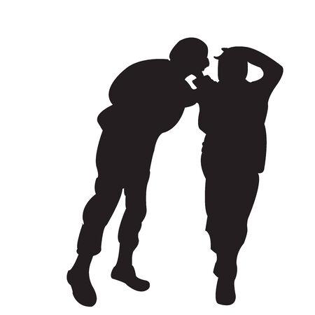 funn: Two boys silhoutte having funn Illustration