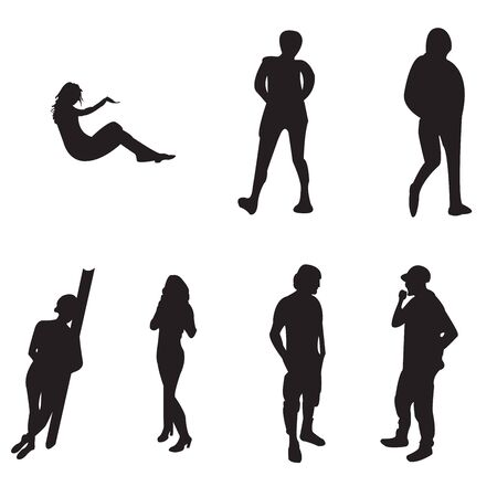 young adults: Seven black silhouette of young adults