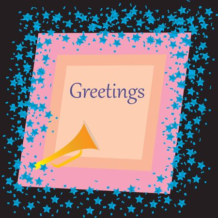 funn: A Greetings card with stars over black background