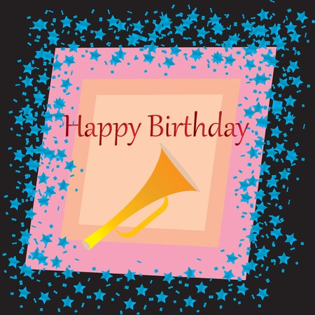 funn: A Happy Birthday  card with stars over black background