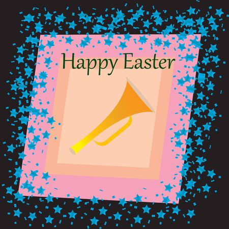 funn: A Happy Easter card with stars over black background