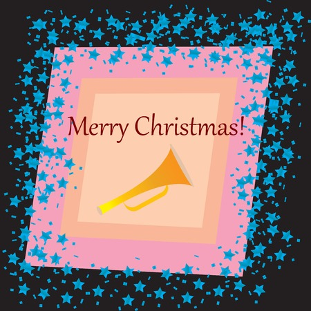 funn: A Merry Christmas card with stars over black background