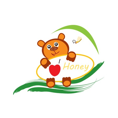 farytale: Bear and bee design logo over white background Illustration