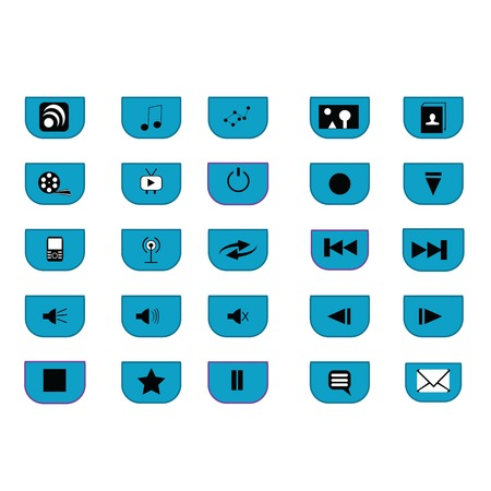 adress book: 25 media icons with blue, black and white over white background