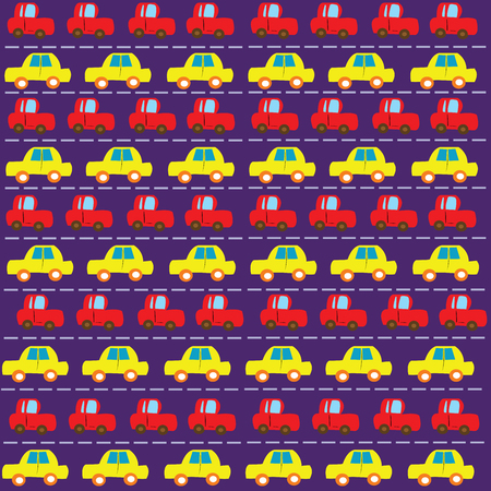 funn: Simple and funny car pattern over purple background