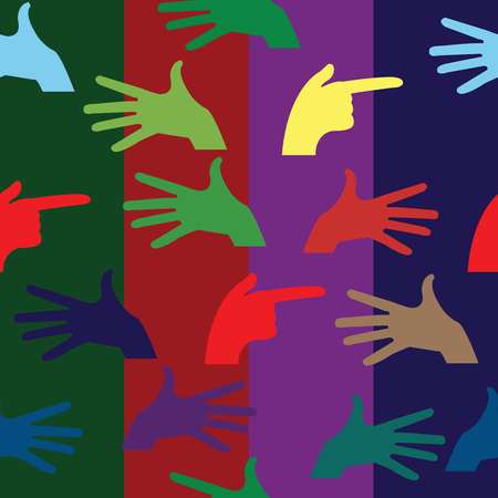 Hand pattern with fingers over colored  background
