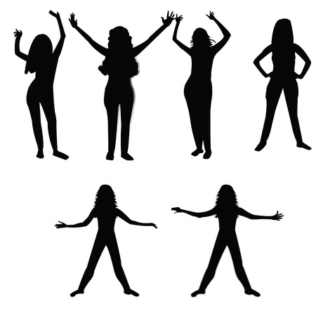 funn: Six silhouettes of a woman over white background Illustration