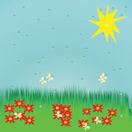 Seamless summer background with red flowers and raindrops Illustration