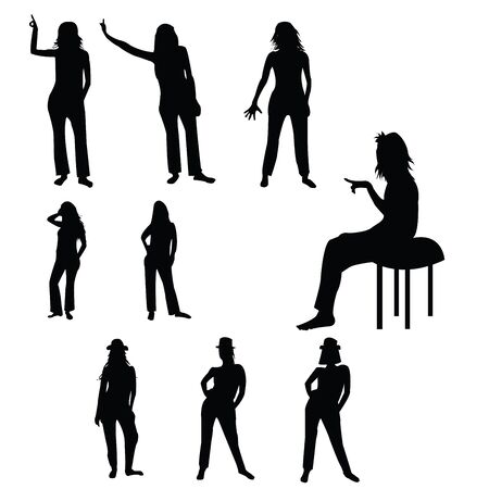 Six silhouettes of a women and child over white background Illustration