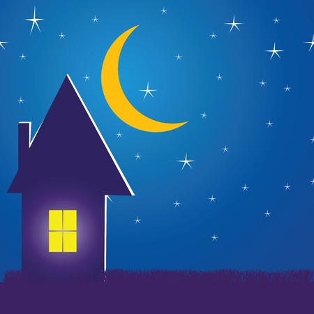 House in the night with stars and moon Illustration