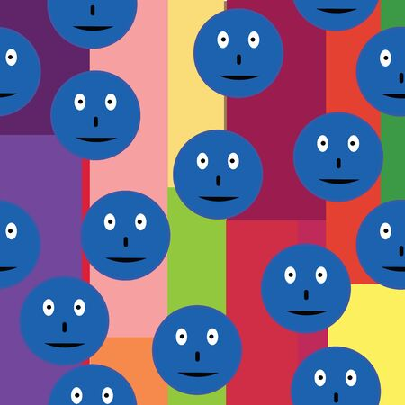 funn: Seamless pattern with blue smileys over retro background textiles, interior design, for book design, website background Illustration